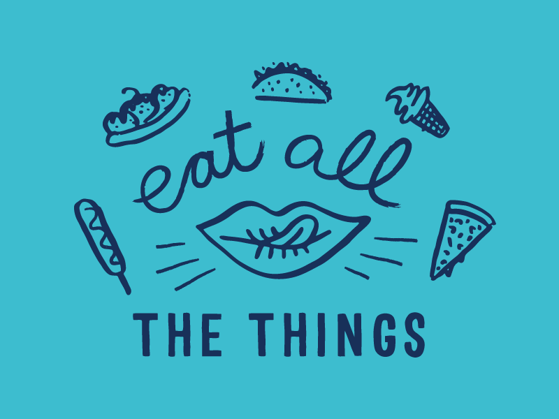"""Eat All The Things"" graphic for Driftwood Magazine for the Vegan Street Fair in LA"
