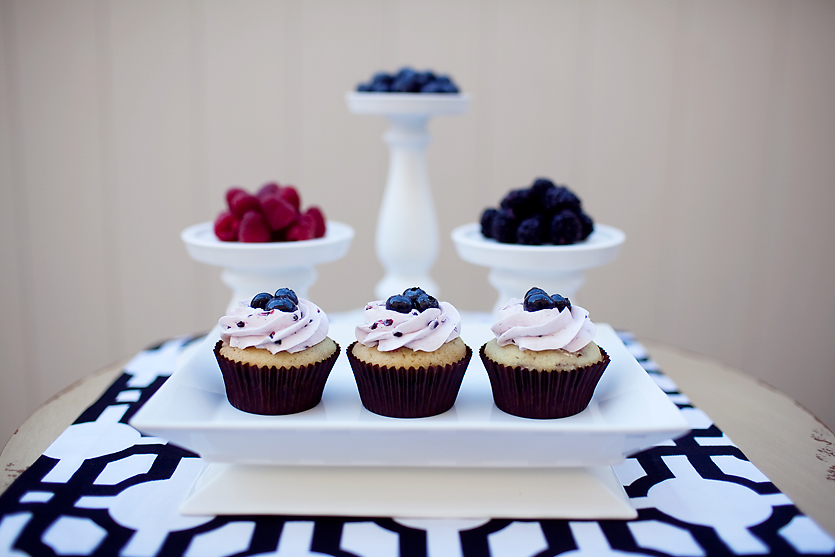TRIPLE BERRY raspberry cupcake with fresh blackberry buttercream topped with fresh blueberries