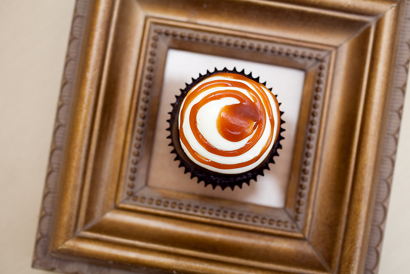 SALTED CARAMEL our signature chocolate cupcake filled salted caramel, topped with buttercream and salted caramel drizzle