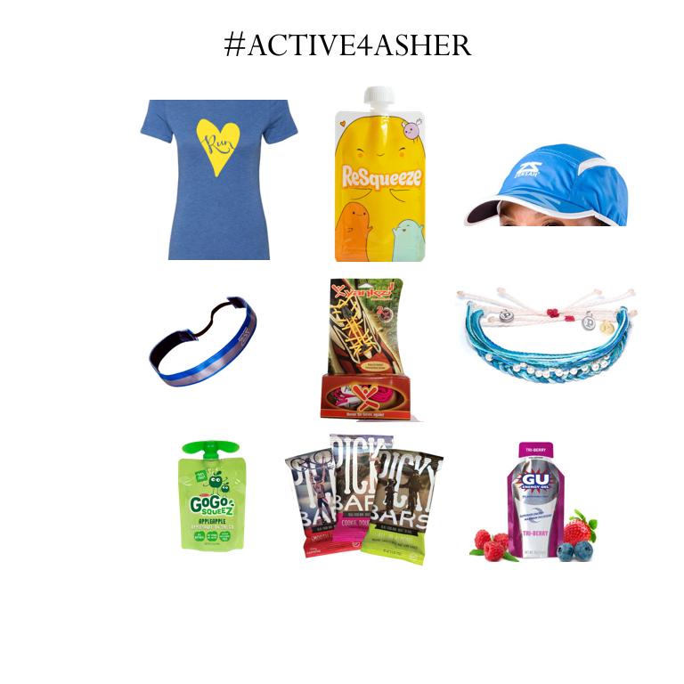 Items from top to bottom, L-R: RunFarGear, ReSqueeze Pouches, Zensah Hat, Zensah Headband, Yankzi laces, Puravida Bracelets, GoGoSqueez, PickyBars, GU Fuel