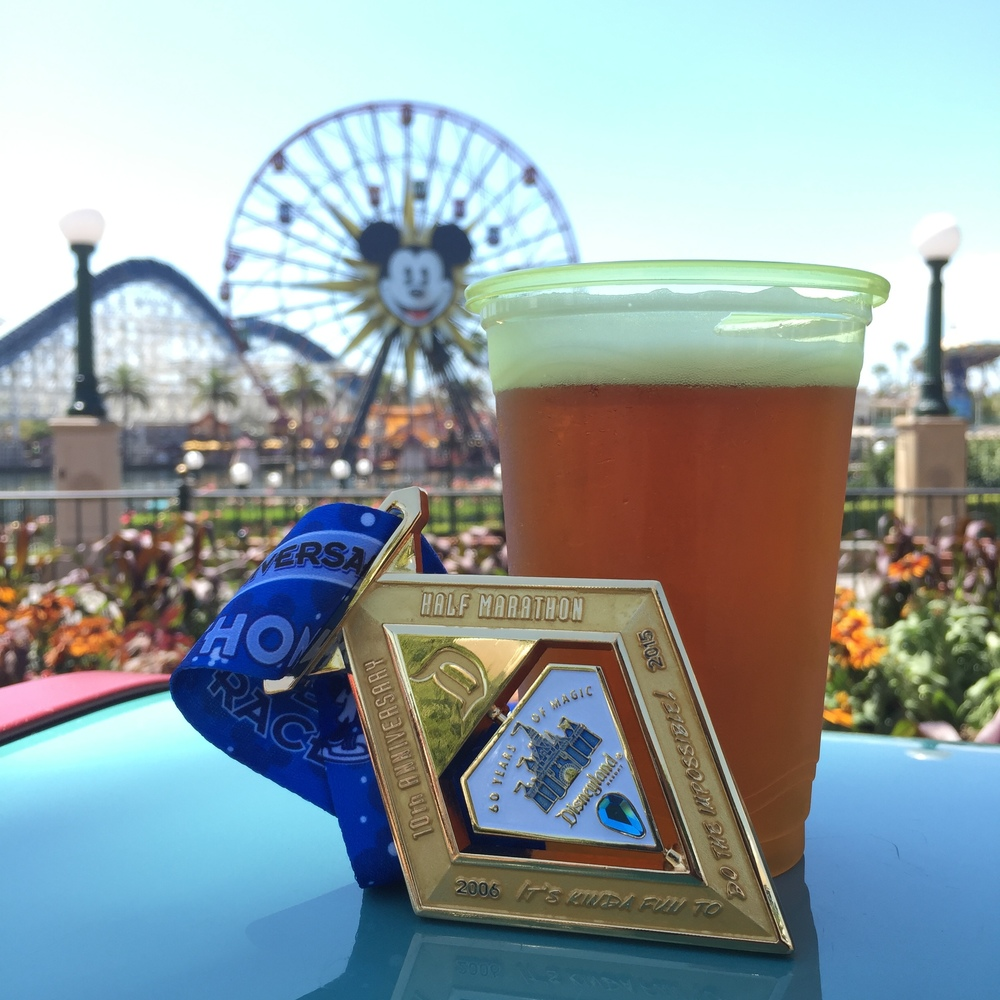 Post run beer and Disneyland Half 10th Anniversary medal. It spins!
