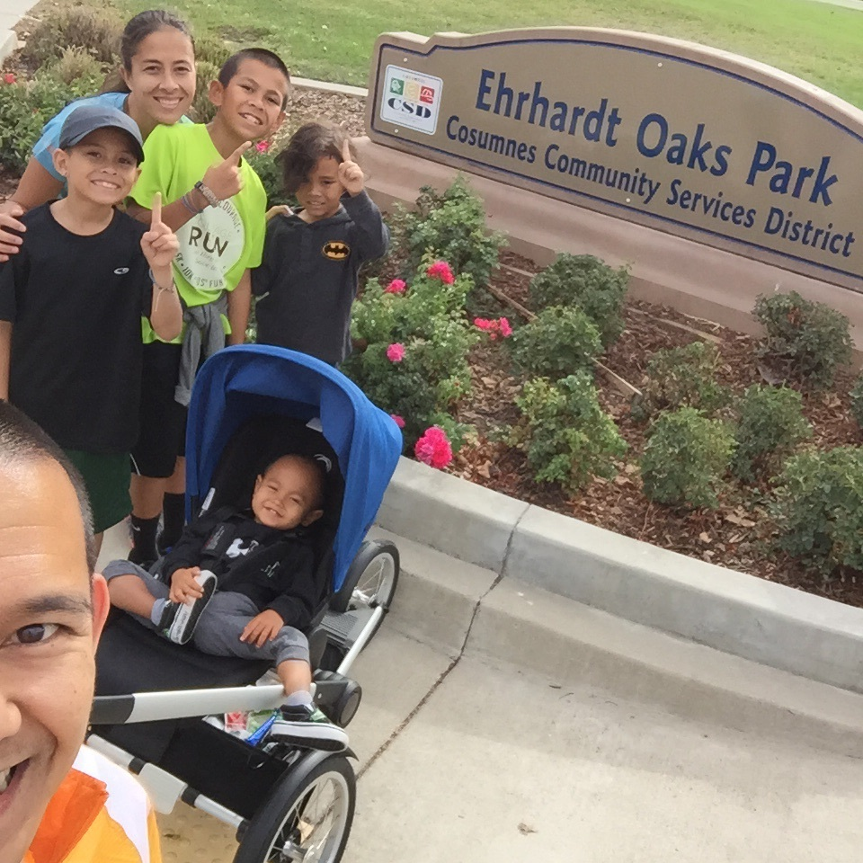 On our most recent family run, we ended up going to 5 parks plus having lunch. Here we are at park one. Everyone happy and the weather was overcast but felt great!