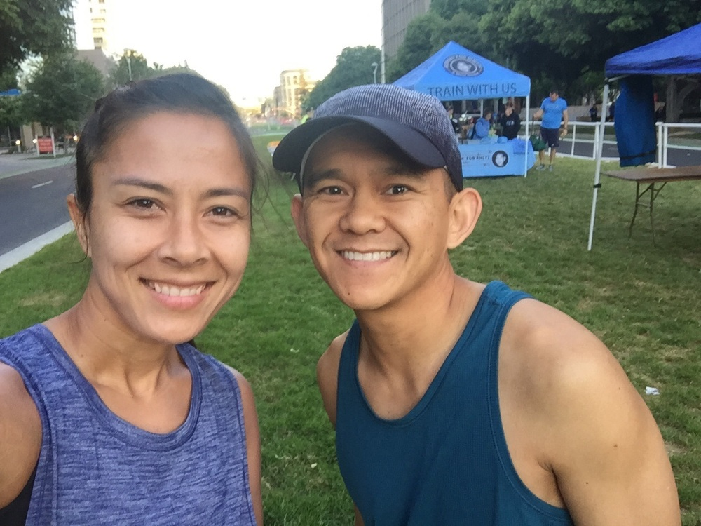 """All smiles prior to the start. Behind us is Running 4 Rhett. Great organization emphasizing """"Run because You Can!"""" And Rhett's mom, is pretty awesome. I work with her and admire how her family has created something so wonderful after her son passed away. ❤"""