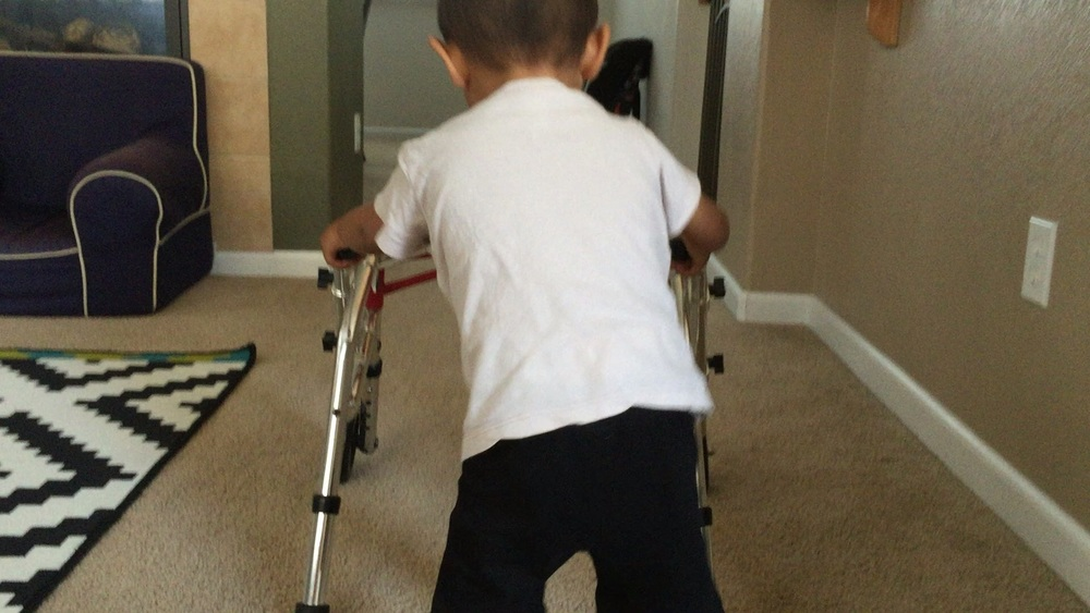 Asher, for the first time, moved his own walker! Happened on Monday, June 13th and we like to think it's because of everyone getting Active4Asher