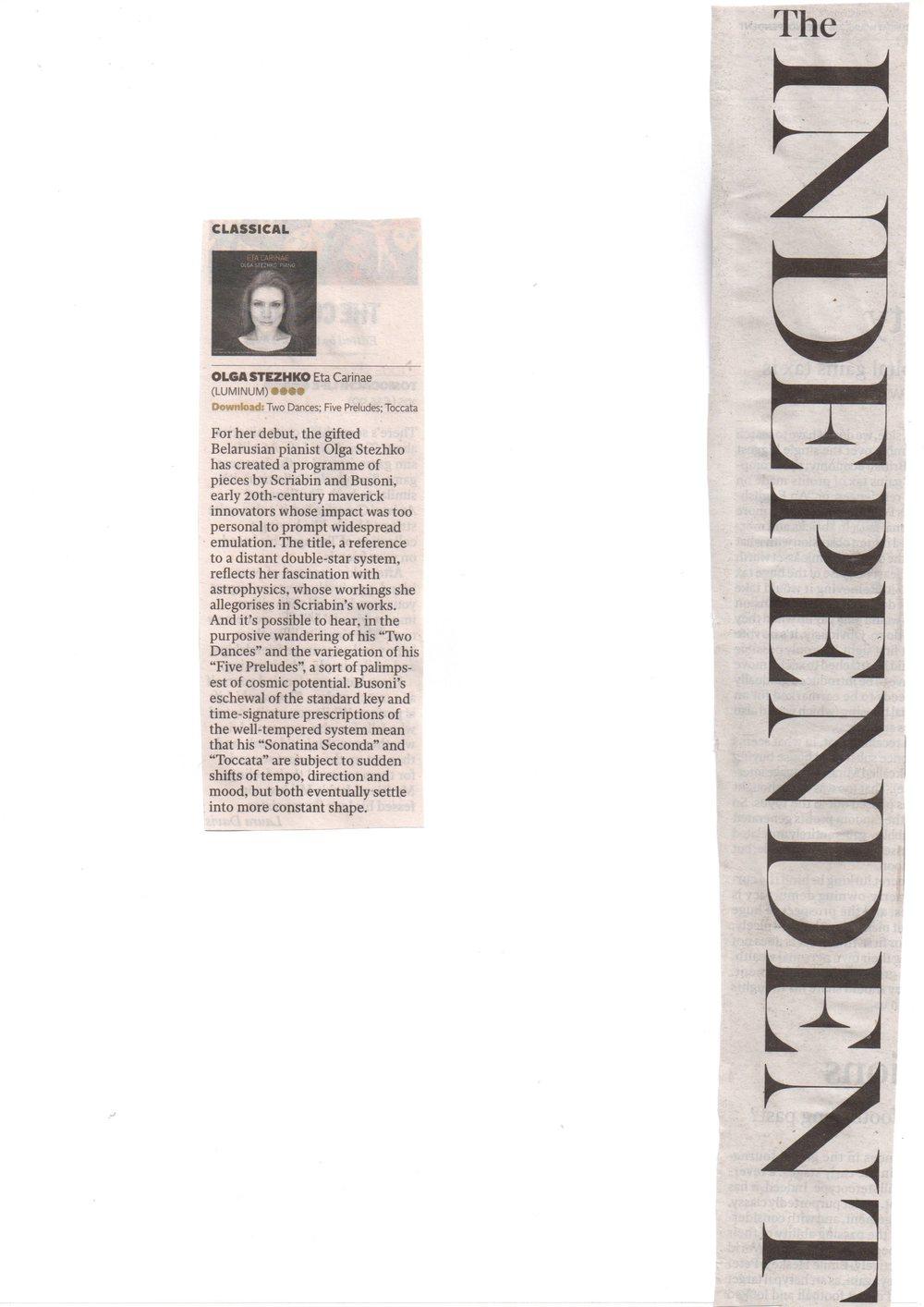 The Independent 4 star review for Olga Stezhko's album Eta Carinae