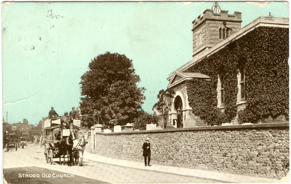 Horse bus passing Strood Church. Pre 1906.