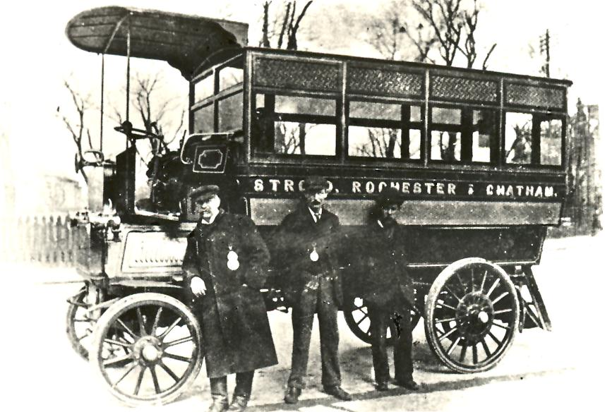 An early local motor bus.