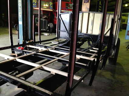 Chassis and lower body structure after blasting and painting.
