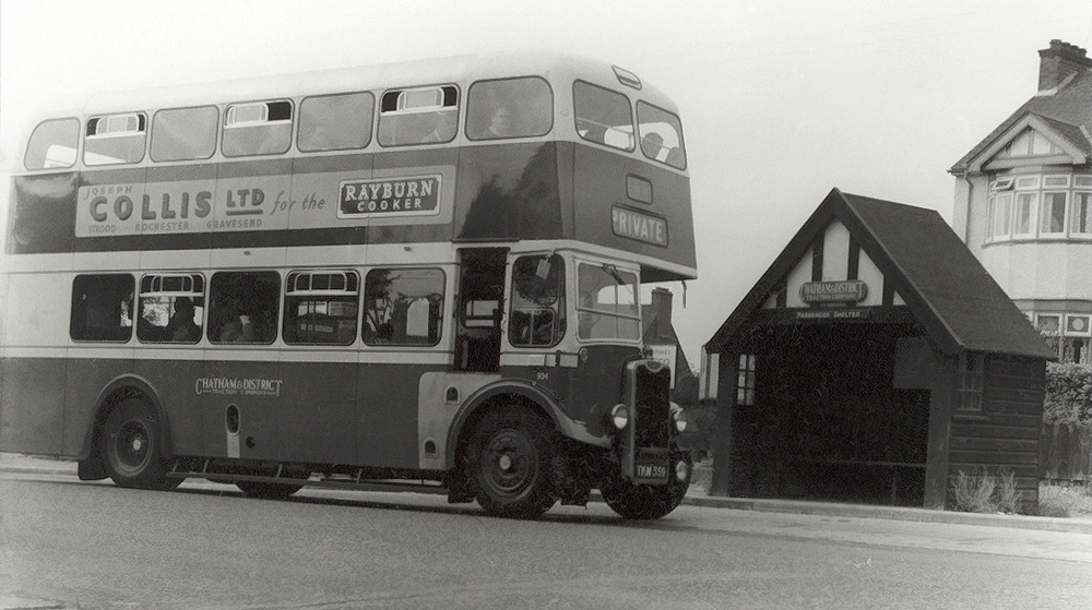 One of Chatham Traction's finest - a 1954 Guy Arab IV at Salter's Cross in September 1955 on hire to the Southern Counties Touring Society.  A John H Meredith photo.
