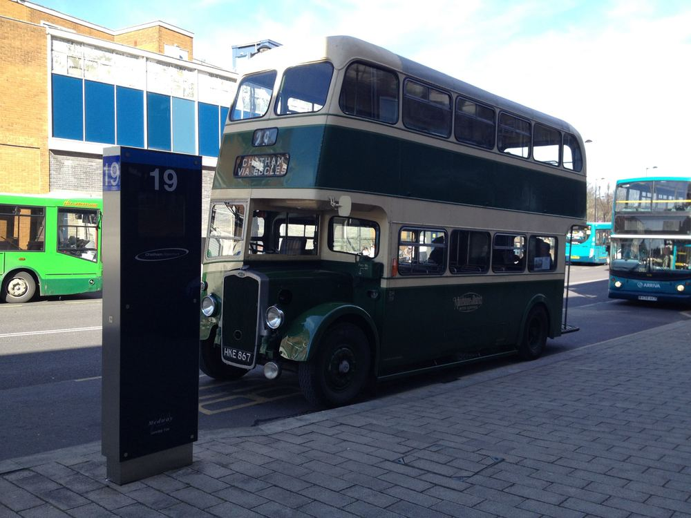 In the company of modern buses in Waterfront Way, Chatham, departure point for the 2015 AGM route tour.
