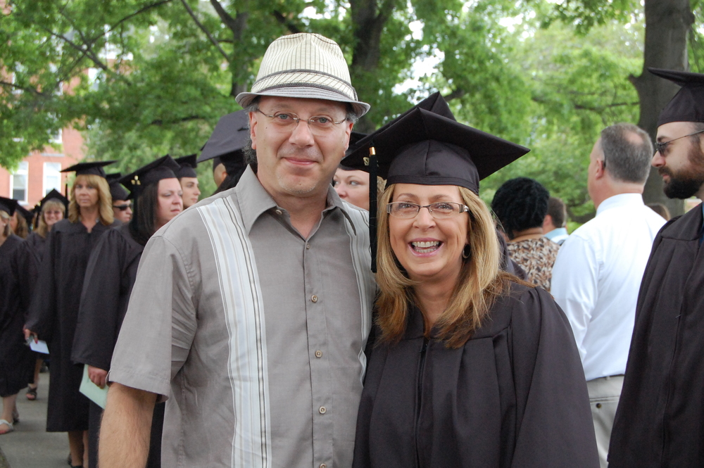 Robin recently graduated from Keuka College with her second degree.  So here is a photo of us on that cool day.