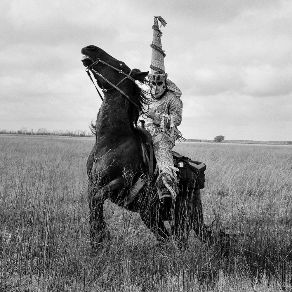 Mardi-Gras rider  Iota, 2014   Made with Hasselblad 501c with Kodak Tri-X 400 b&w film