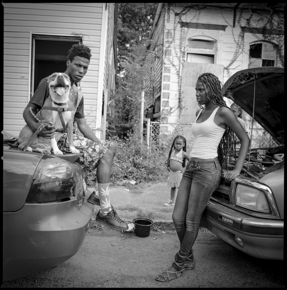 Young couple with kids New Orleans, 2014   Made with Hasselblad 501c with Kodak Tri-X 400 b&w film