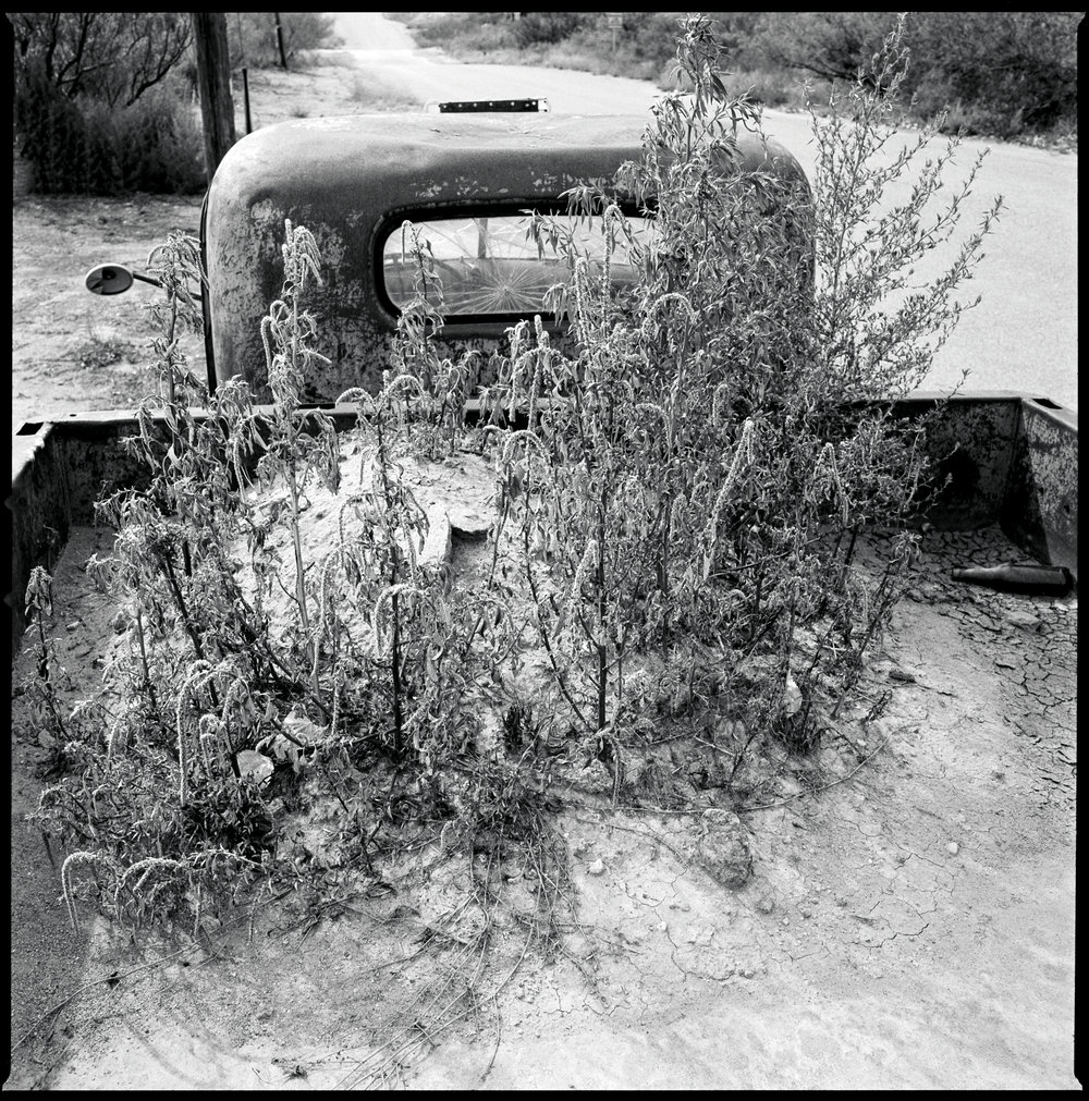 Truck in the side of the road Marfa, Texas 2012   Made with Hasselblad 501c with Kodak Tri-X 400 b&w film