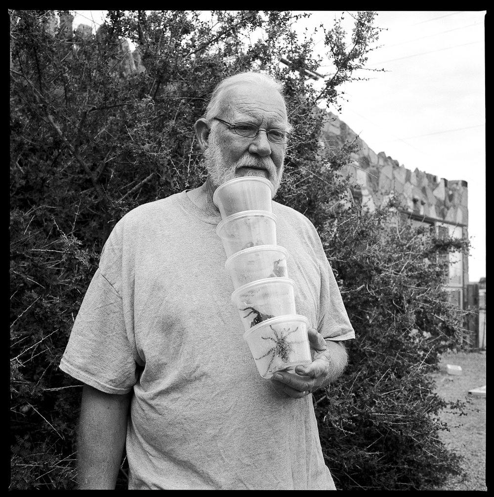 Snake farm owner  Ft. Davis, Texas 2014)   Made with Hasselblad 501c with Kodak 120 Tri-X 400 b&w film