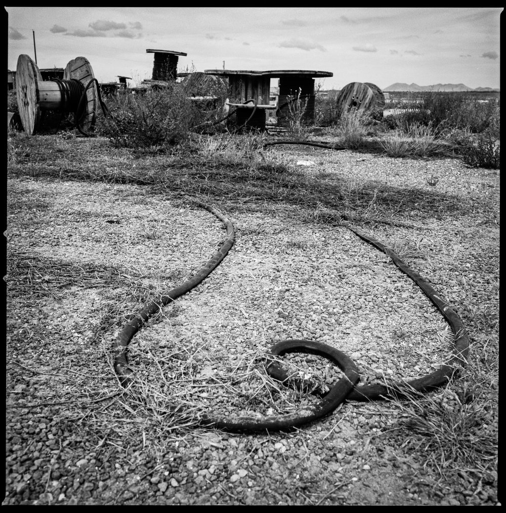 Equipment on the side of the road Marfa, Texas 2016   Made with Hasselblad 501c with Kodak Tri-X 400 b&w film