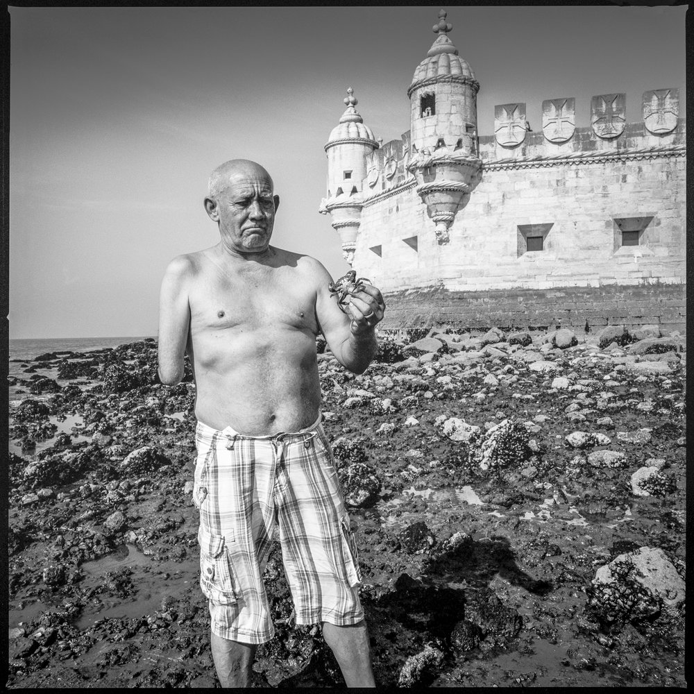 Man harvesting crabs Lisbon, Portugal, 2018   Made with Hasselblad 501c with Kodak Tri-X 400 b&w film