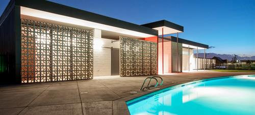 MAVERICK POOL -  New 1,650 SF masonry pool house, swimming pool and park facilities including polycarbonate windows and shade structures, BBQ pits, picnic tables, outdoor showers, play structures, mail center and scrolled metal fencing.