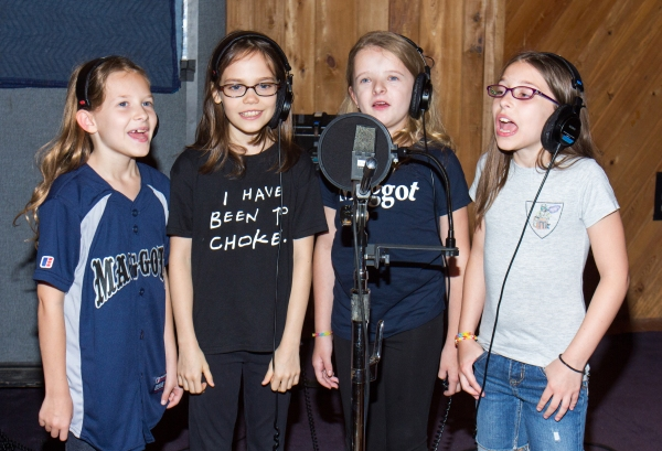 Sophia, Oona, Milly, and Bailey Recording the Cast Album for Matilda