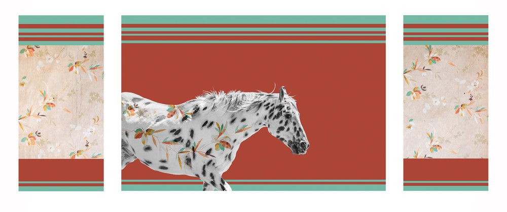 { Horse No. 26 }  This piece is made as a triptych with a main image and two side panels. Pictured is a horse I photographed on a ranch in Montana's Gallatin Valley. The pattern is a photograph I made of vintage wallpaper in an abandoned home in the ghost town of Bannack, Montana. The Roe/Graves House was built in 1866 and in addition to living there, William Roe operated a general store and meat market from the home. Roe was one of the Vigilantes who captured and hung the crooked Sheriff Henry Plummer and members of his secret gang, known as Road Agents, in 1864. The solid colored background is the painted walls of the abandoned Hotel Meade, also in Bannack, which was founded in 1862 after gold was discovered there.