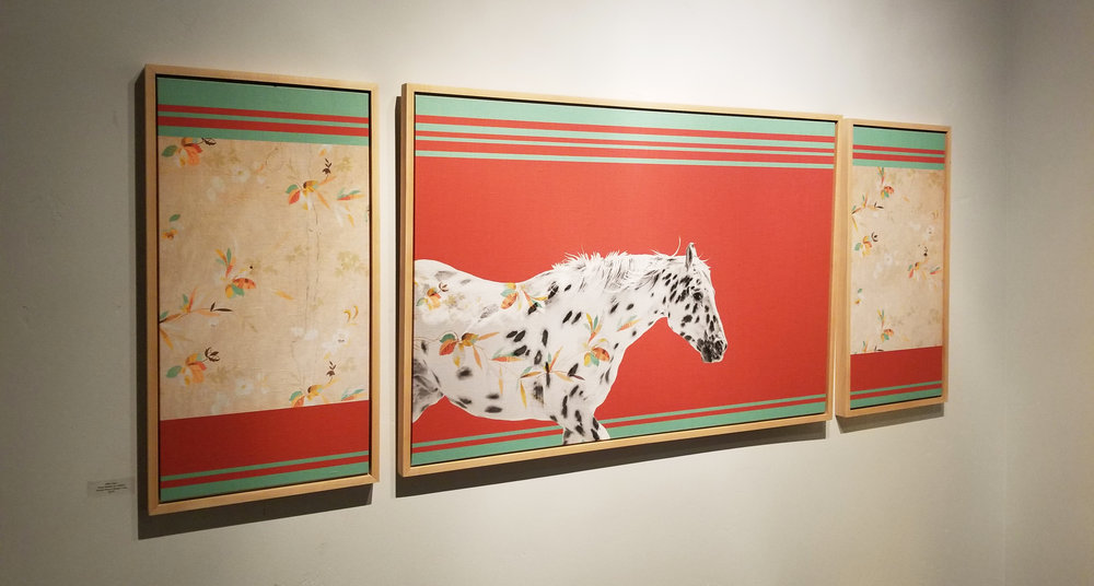 Horse No. 26 triptych displayed in Underscore Art Gallery in Whitefish, Montana.