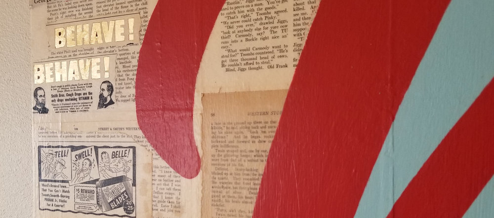 """Detail of """"Western Story No. 1"""" including gold leaf applied to bring new life to old advertisements…"""