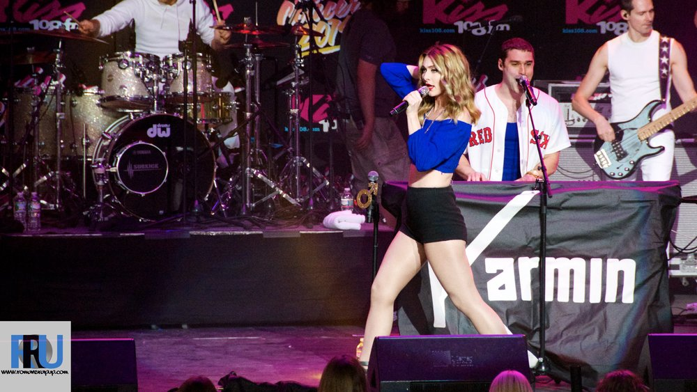 Karmin performing at Kiss 108's Kiss Concert in Mansfield, MA in May, 2014.