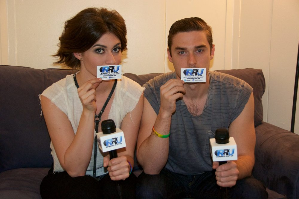 Amy Heidemann (left) and Nick Noonan (right) of Karmin pose for Roman's Rap-Up (Benjamin Esakof/Roman's Rap-Up).