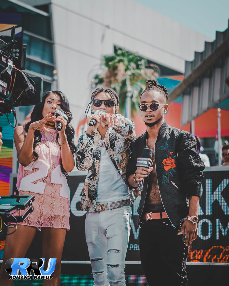 """Mila J and Rae Sremmurd host """"106 and Park"""" live during the BET Experience 2016 at L.A. Live (Gibson Dintersmith/Roman's Rap-Up)."""