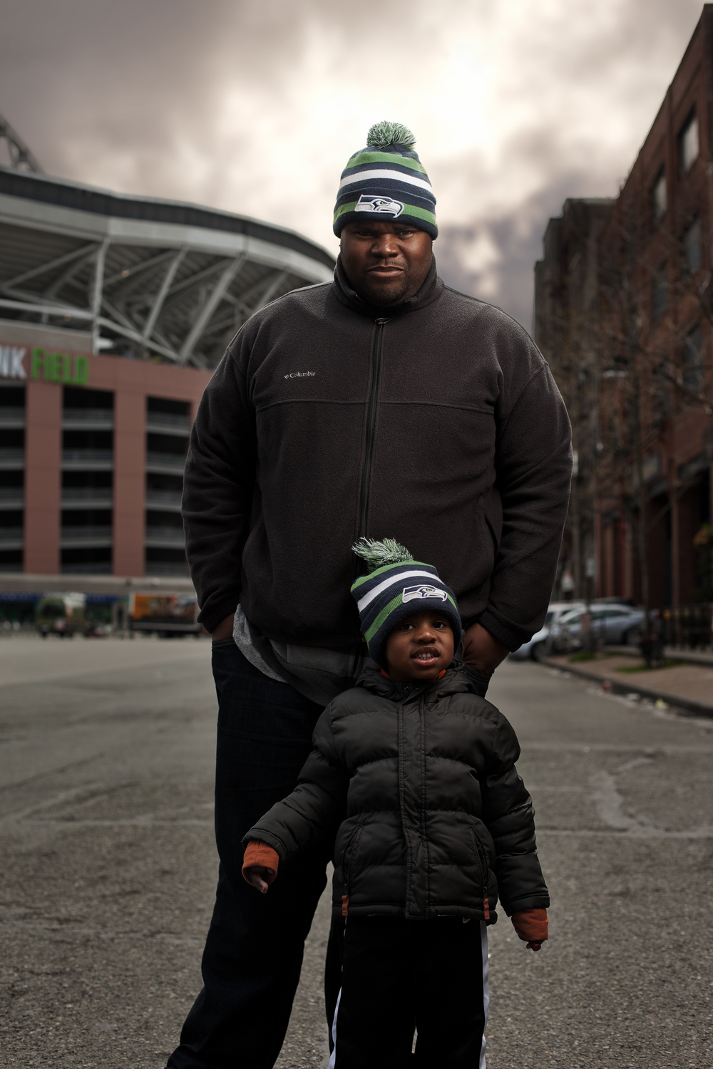 I caught Anthony and his son Xavier on their way into the Seattle Sounders game, and asked to take a portrait of them. From what I can tell, Anthony is a great dad, and Xavier is a happy kid.