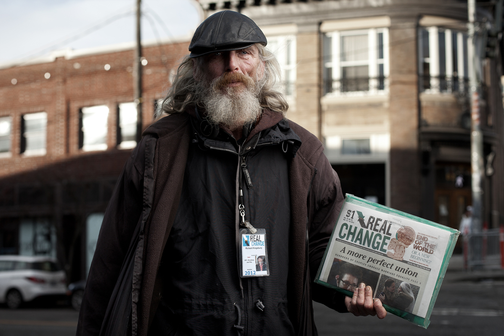 Richard has lived in Seattle since 1980, and has been homeless since he lost his job at the Seattle Times. He had no problem with me taking his photo, so long as it wouldn't be used in newspapers. He no longer cares for newspapers.