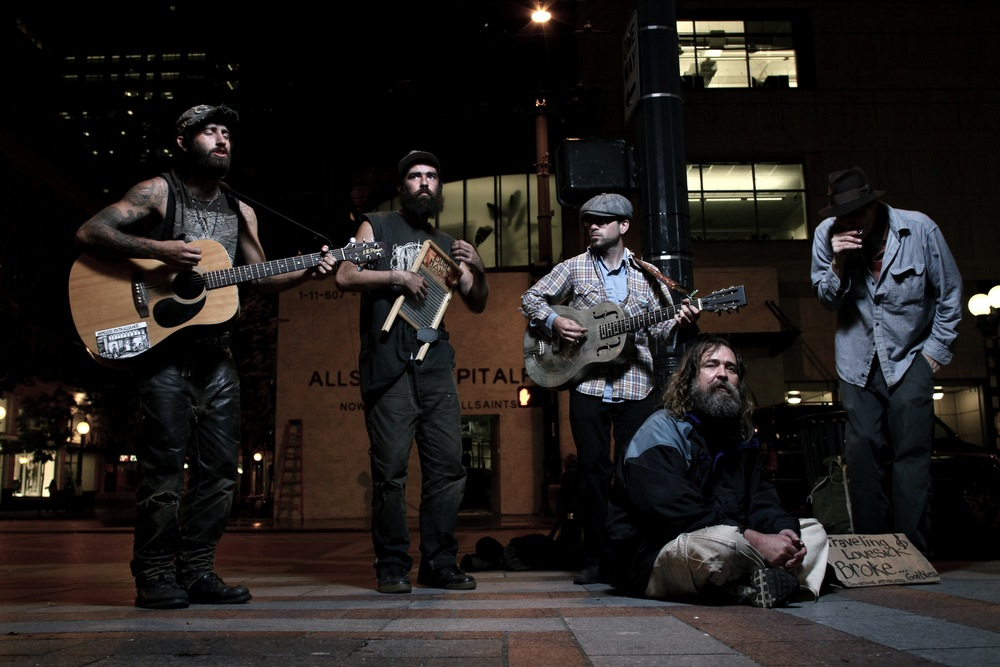 These men had never met before performing together in Downtown Seattle. 2010.