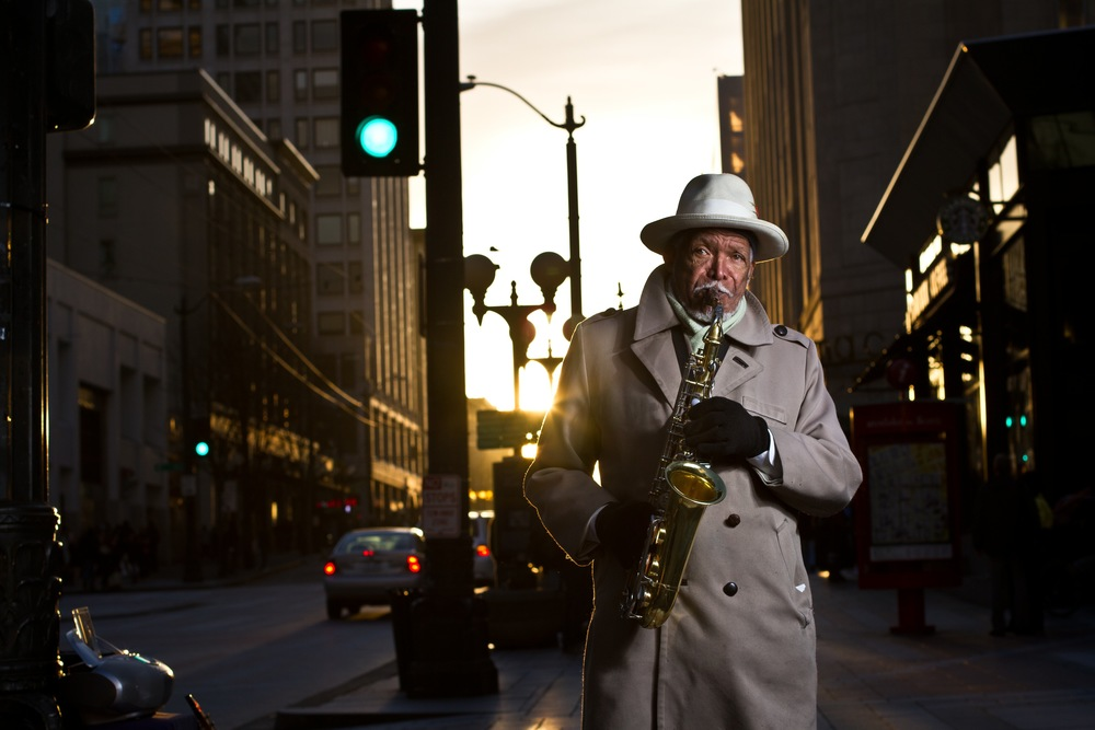 Rabbi E.B. David is a frequent Seattle street performer. He's a favorite with the locals and is always up for a conversation if he has the time.