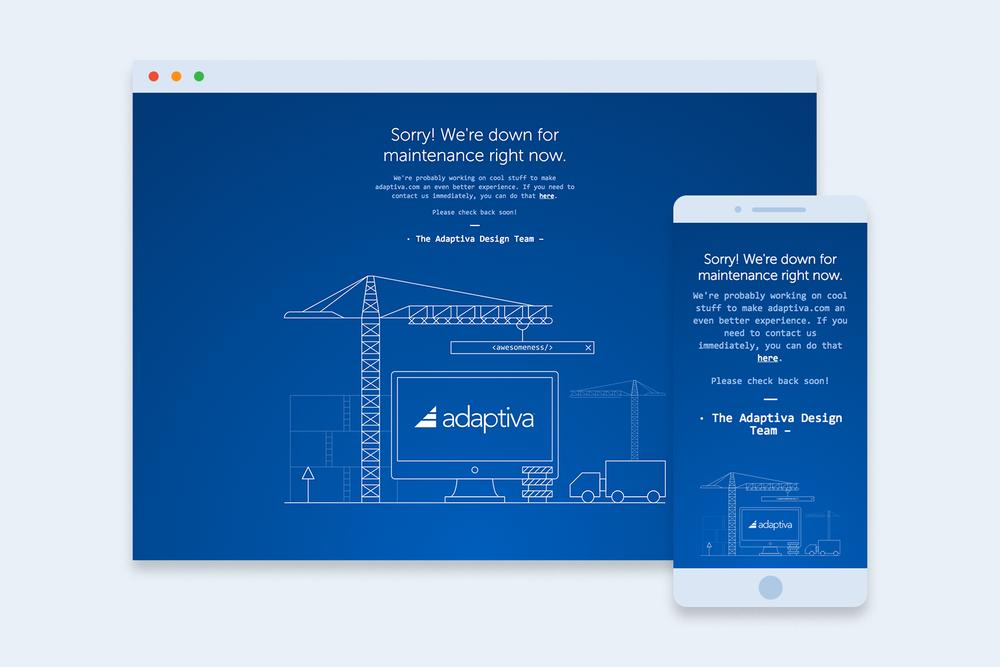 Adaptiva Website Maintenance Splash Page