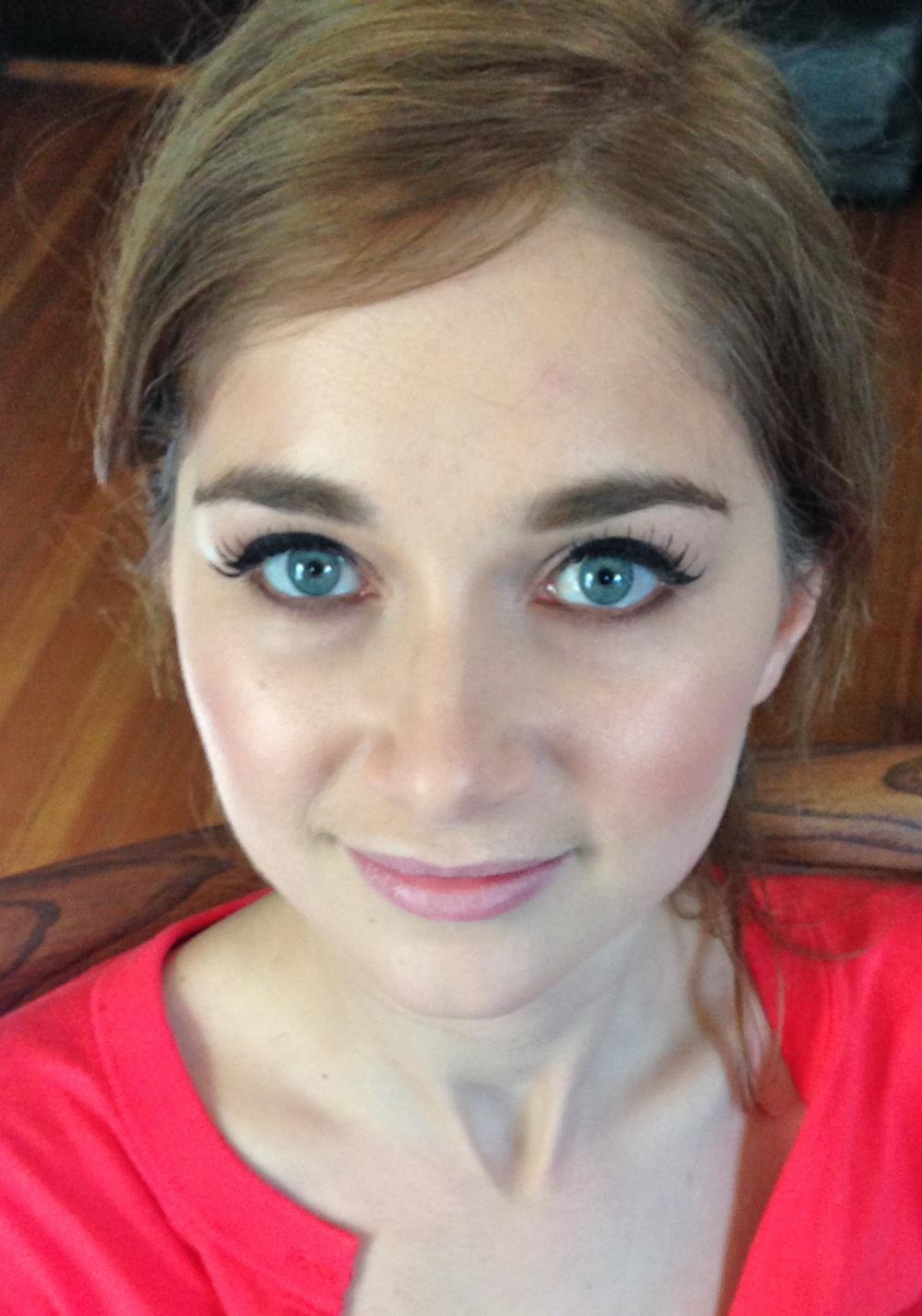 luminous skin, individual false lashes and a fun and flirty liner flick:)