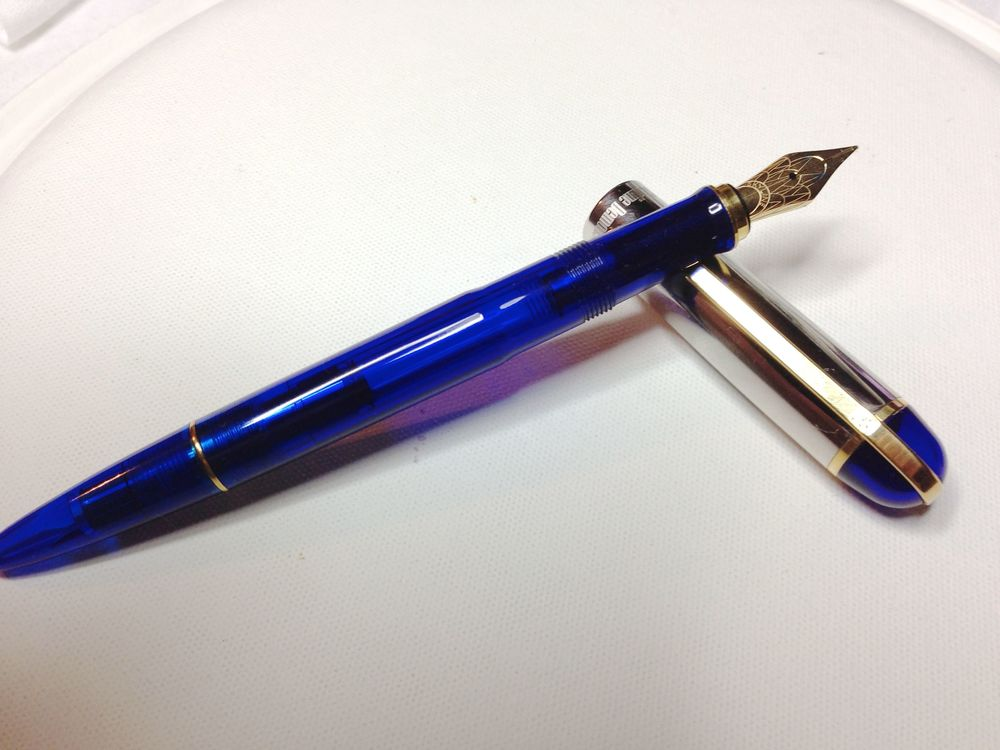 Wahl-Eversharp SKYLINE Demonstrator Nile Blue with medium semi-flex ceramic coated steel nib and Palladium plated cap - from Anderson Pens