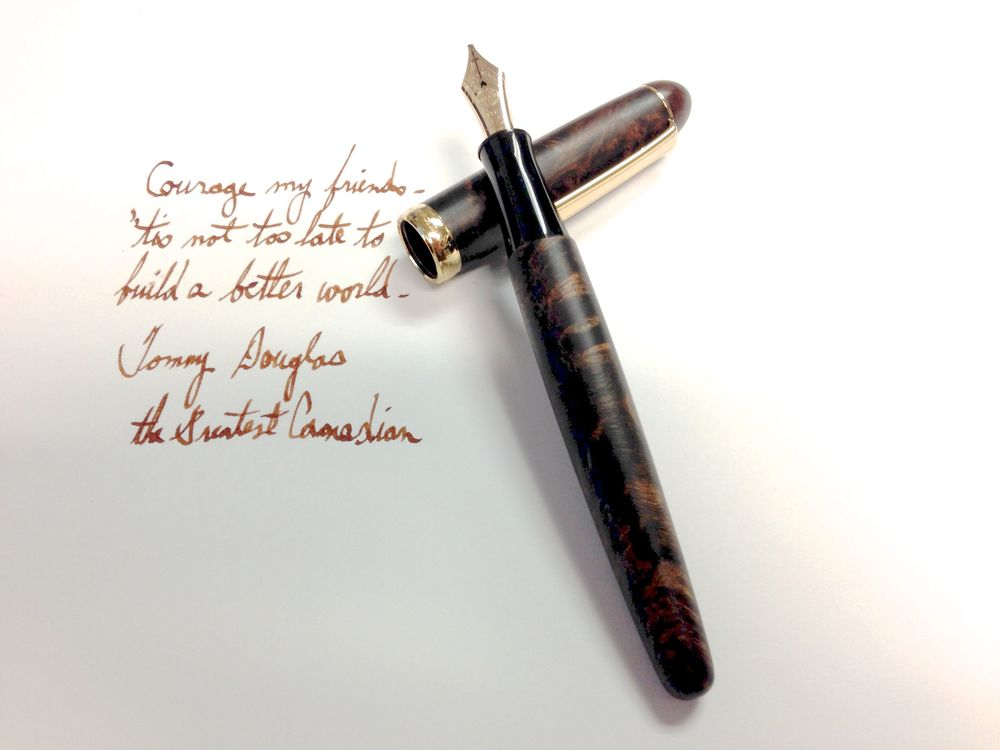 Nakaya Matte Briarwood Deep - 14k extra broad nib from Classic Fountain Pens filled with Conway Steward Kingsand ink. Nib custom ground to right oblique by John Mottishaw.