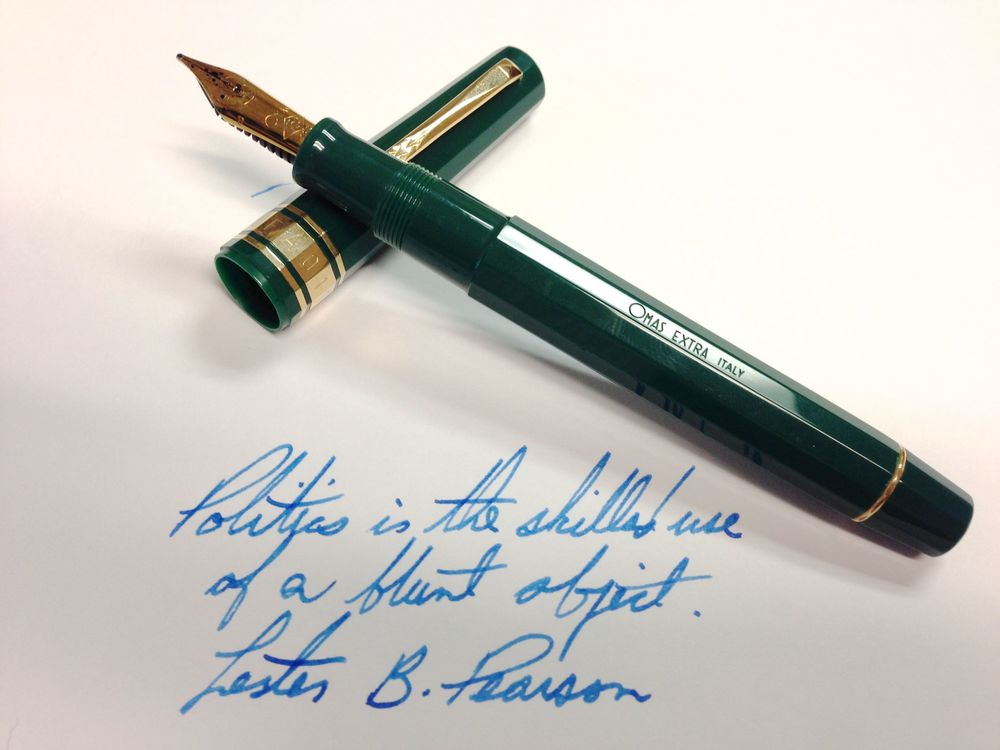OMAS FAO 50th Anniversary Limited Edition (6000 made) - 18k broad with Sailor Jentle Sky High ink.