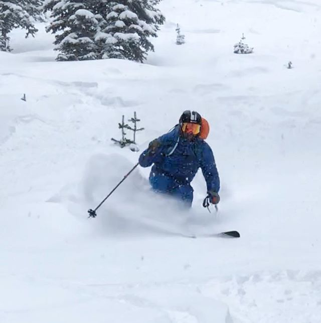 The last storm delivered! Fredrik enjoying some of the new snow.