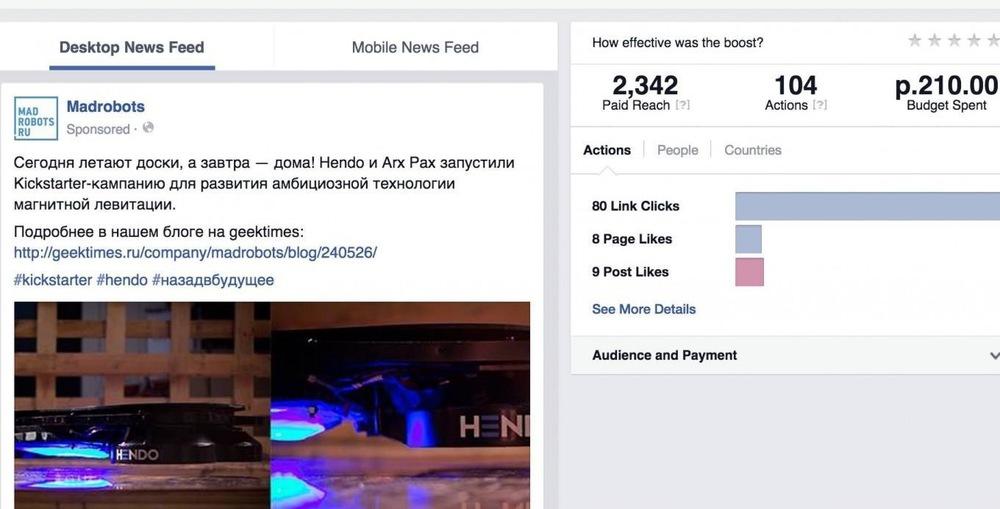 Основатель интернет-магазина Madrobots Николай Белоусов раскрыл лайфхак по увеличению охвата записей в Facebook с помощью оплаты минимальной суммы за продвижения записи