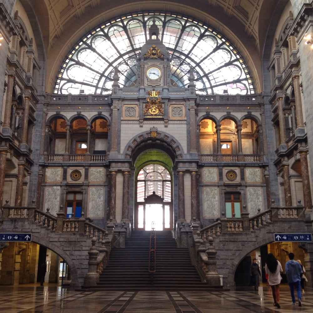 The grand entrance to Antwerp station, Belgium.