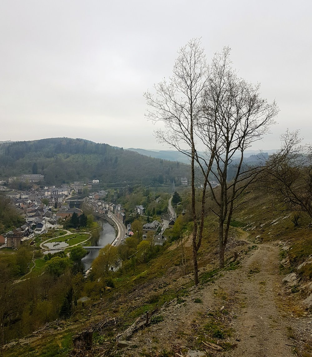 The gentle hike into the surrounding hills presents some wonderful views back into the town of La Roche.  Notice the river that meanders its way through the picturesque town.