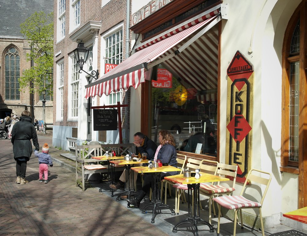 A great place to sit. Outside the cafe close to the Oude Kerk in the centre of Delft.