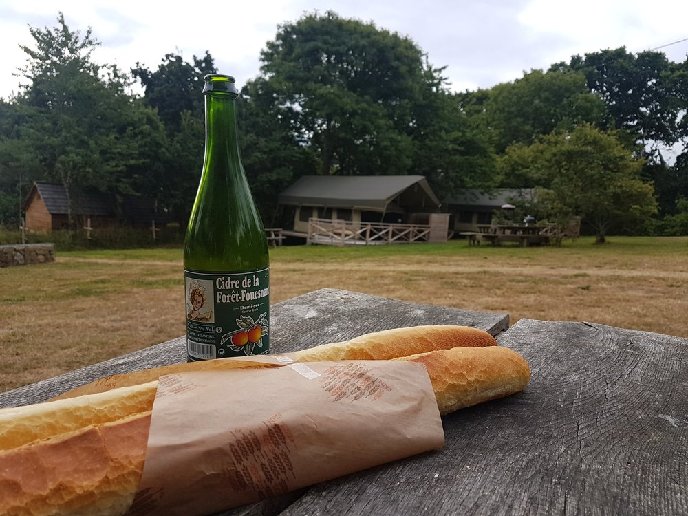 A staple diet of local Cider and French baguettes.  The Cider is relatively inexpensive and very delicious. The bread available every morning form the local Boulangerie.