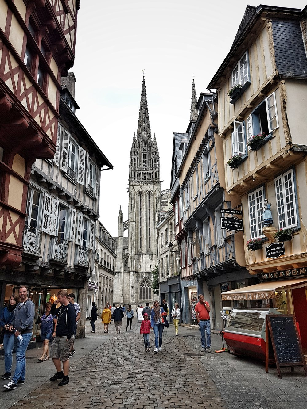 The streets of Quimper and the impressive Cathedral set in the background are well worth a visit. It has a great feel to this historical town.