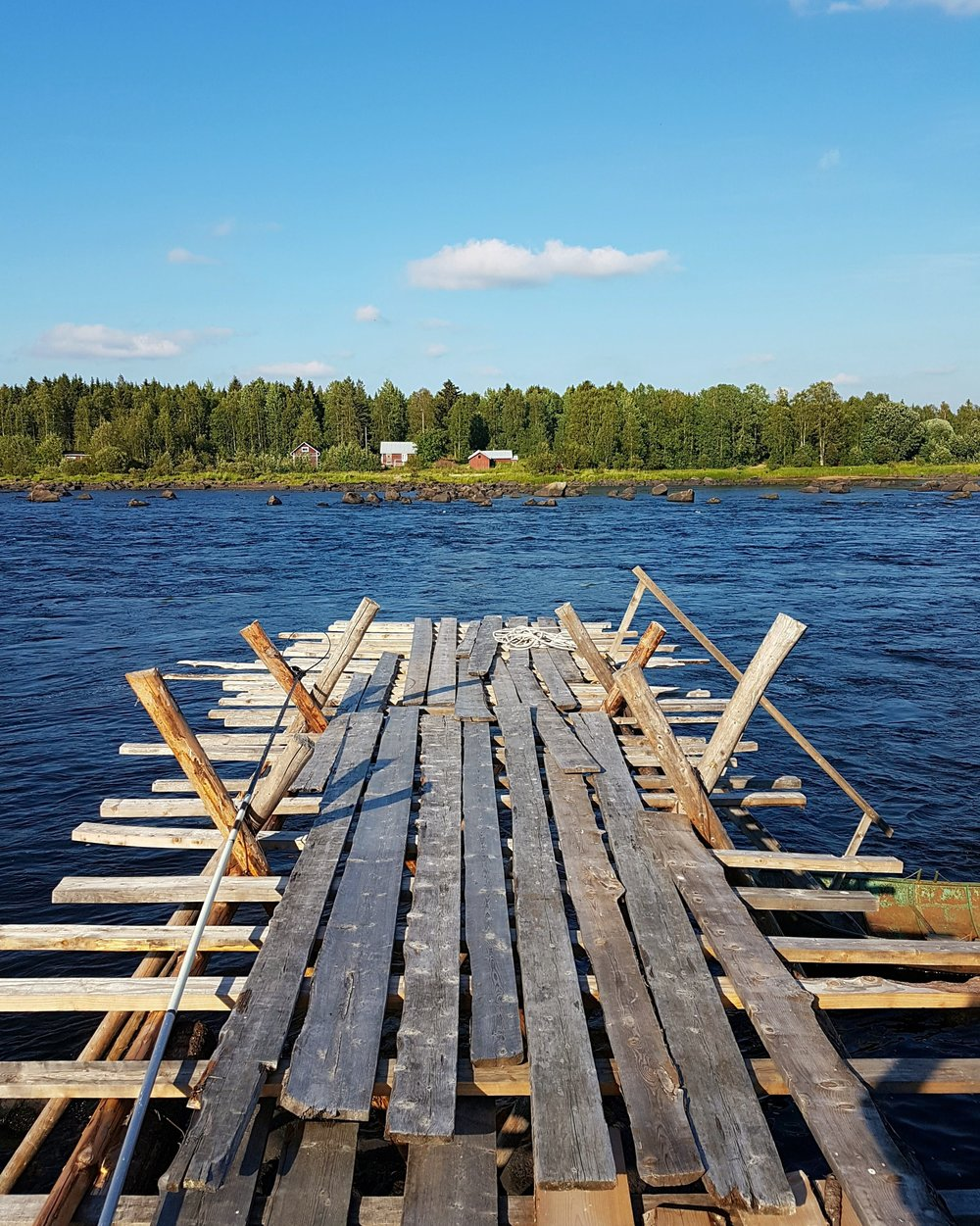 Each year the local fishermen erect the wooden pier in order to use it as a platform to fish from. These platforms usually stand in place from summer through to autumn, before the cold period sets in and they are dismatled again.  The materials may appear to be old and rickety, but their design withstands the flowing rapids and allows the locals to catch their fish.