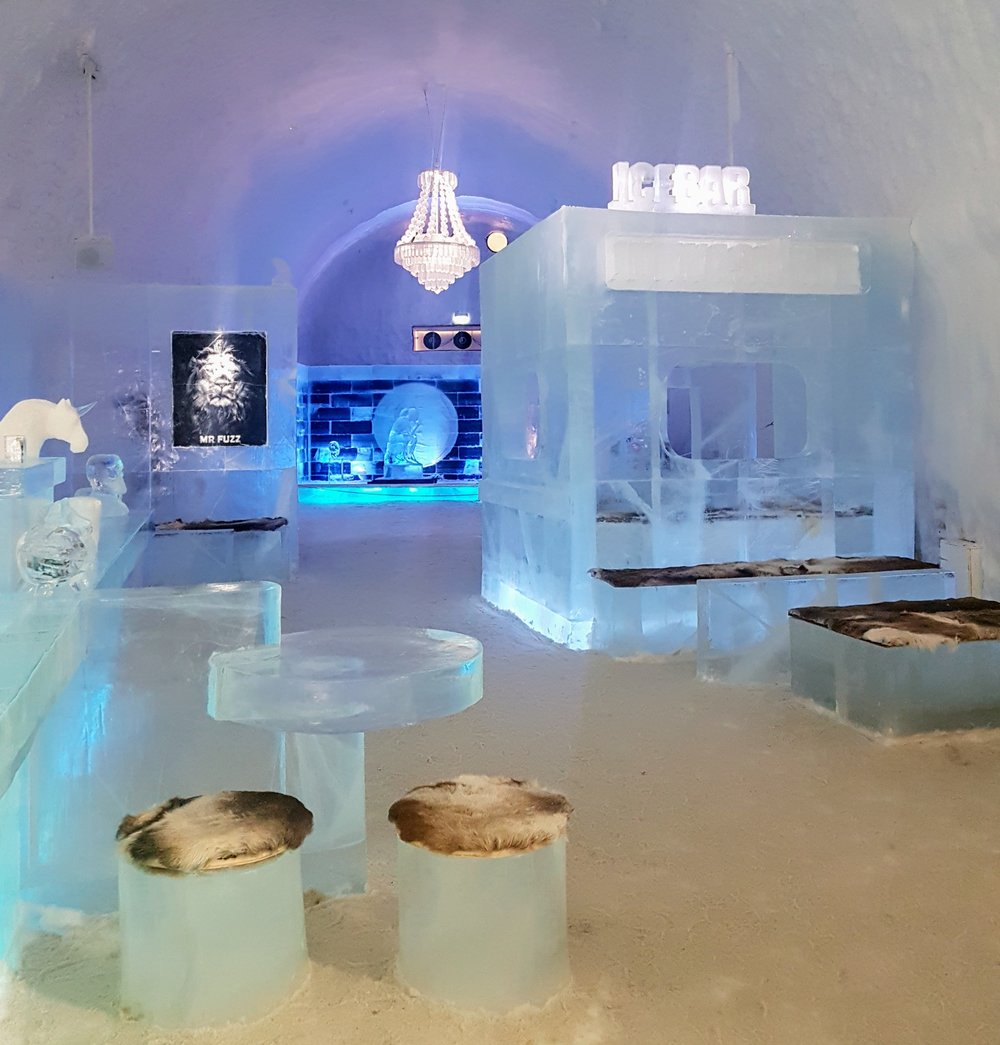 The main meeting area and the impressive Ice Bar. A great place to mingle, enjoy an iced drink and play musical statues.