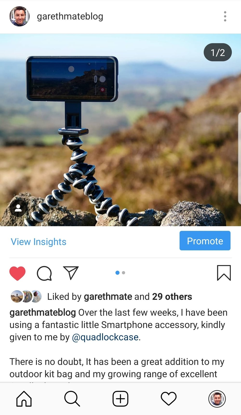 You can see more images taken with the Quadlock Smartphone Tripod on my  @garethmateblog  Instagram account.