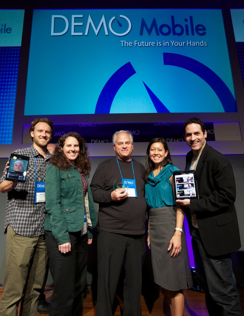 Part of the Volio team accepting the DEMO GOD award, given to the five most-promising startup companies out of thousands that applied.