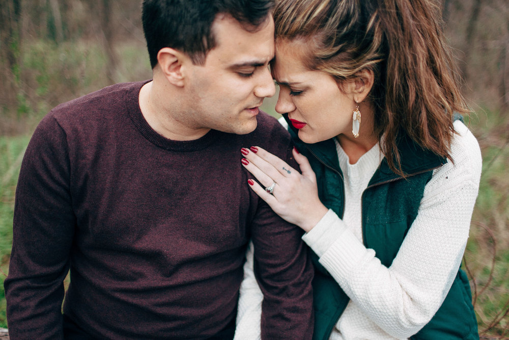 Cozy Fall Winter Austin Texas Wedding Photographer Urban Outfitters Style Raw Emotion Bright Red Lips and a Big Sweater Tattoos